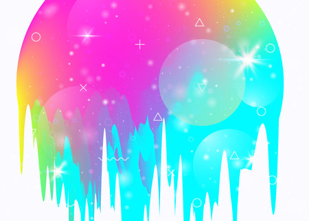 Abstract landscape with holographic cosmos and future universe background. Multicolor mountain silhouette with wavy glitch. 3d fluid. Futuristic gradient and shape. Memphis abstract landscape.