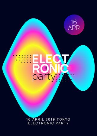 Summer music. Electronic sound. Night dance lifestyle holiday. Fluid holographic gradient shape and line. Dynamic disco concert banner template. Fest poster and flyer for summer music.
