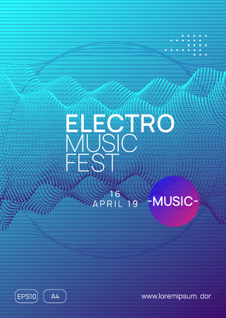 Electronic fest. Dynamic gradient shape and line. Creative discotheque cover template. Neon electronic fest flyer. Electro dance music. Trance sound. Club event poster. Techno dj party.
