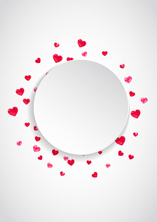 Heart paper frame with red glitter. February 14th day. Vector confetti with heart paper frame. Festive white banner with hand drawn texture. Love theme for gift coupons, vouchers, ads, events. Ilustración de vector