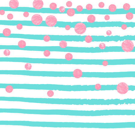 Wedding glitter confetti with dots on turquoise stripes. Sequins with metallic shimmer and sparkles. Design with pink wedding glitter for party invitation, event banner, flyer, birthday card. Illustration