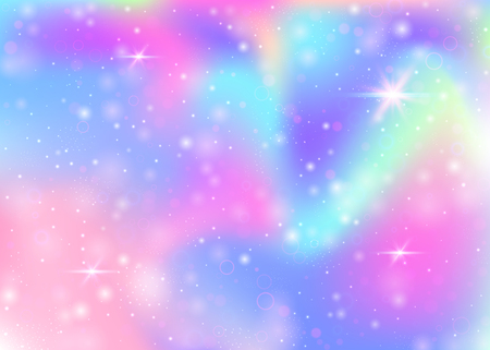 Fairy background with rainbow mesh.  Kawaii universe banner in princess colors. Fantasy gradient backdrop with hologram. Holographic fairy background with magic sparkles, stars and blurs. Archivio Fotografico - 116196204