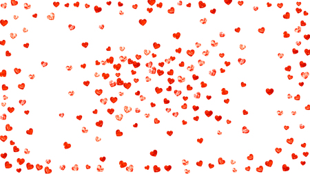 Le coeur de la Saint-Valentin avec des paillettes rouges scintille. jour du 14 février. Confettis de vecteur pour le modèle de coeur de Saint Valentin. Grunge texture dessinée à la main. Thème d'amour pour flyer, offre commerciale spéciale, promo.