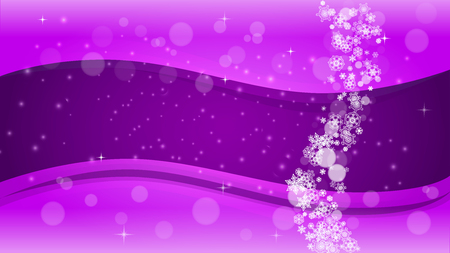 Winter border with ultraviolet snowflakes. New Year backdrop. Snow frame for flyer, gift card, invitation, business offer and ad. Christmas trendy background. Holiday snowy banner with winter border