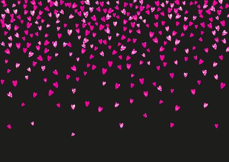 Valentinstag-Rahmen mit rosa Glitzer funkelt. 14. Februar Tag. Vektorkonfetti für Valentinstag-Rahmenschablone. Grunge handgezeichnete Textur. Liebesthema für Gutschein, spezielle Geschäftsanzeige, Banner.