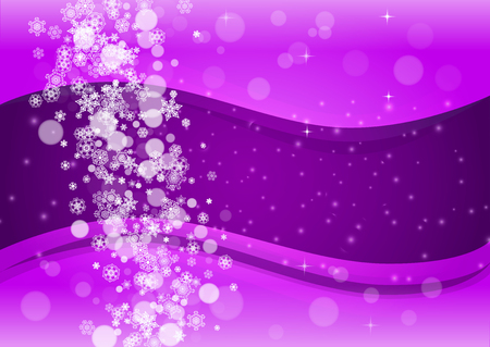 Snow frame with ultraviolet snowflakes. New Year frosty backdrop. Winter border for flyer, gift card, party invite, retail offer and ad. Christmas trendy background. Holiday banner with snow frame Çizim