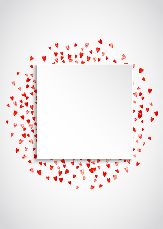 Valentine paper frame with pink glitter hearts. February 14th day. Vector confetti for valentine paper frame. White festive banner with texture. Love theme for gift coupons, vouchers, ads, events. Stock Illustratie