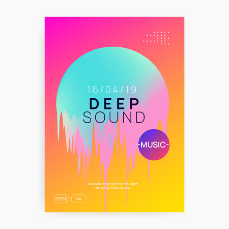 Summer music. Electronic sound. Night dance lifestyle holiday. Fluid holographic gradient shape and line. Modern disco party cover design. Fest poster and flyer for summer music.
