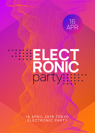 Trance event. Dynamic gradient shape and line. Curvy discotheque cover design. Neon trance event flyer. Techno dj party. Electro dance music. Electronic sound. Club fest poster. Stock Illustratie