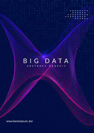 Visualization background. Technology for big data, artificial intelligence, deep learning and quantum computing. Design template for database concept. Vector visualization backdrop.