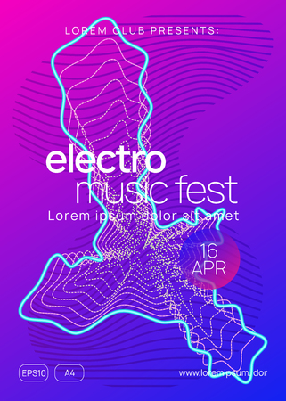 Sound flyer. Futuristic show cover concept. Dynamic gradient shape and line. Neon sound flyer. Electro dance music. Electronic fest event. Club dj poster. Techno trance party.