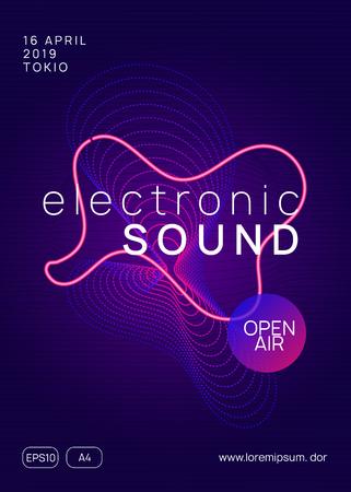 Music fest. Dynamic gradient shape and line. Minimal show banner design. Music fest neon flyer. Electro dance. Electronic trance sound. Techno dj party. Club event poster. Vector Illustratie
