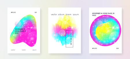Music fest. Electronic sound. Night dance holiday. Fluid holographic gradient shape and line. Geometric invitation template set for electro event. Music fest summer poster and flyer.