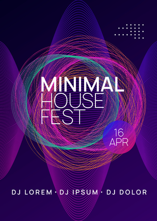 Trance party. Dynamic gradient shape and line. Abstract discotheque magazine concept. Neon trance party flyer. Electro dance music. Electronic sound. Club dj poster. Techno fest event.