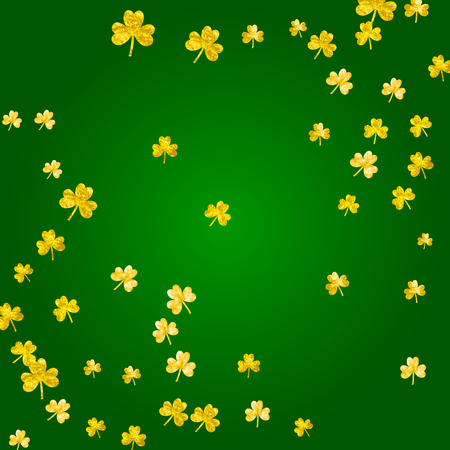 Shamrock background for Saint Patricks Day. Lucky trefoil confetti. Glitter frame of clover leaves.  Template for special business offer, banner, flyer. Festive shamrock background.