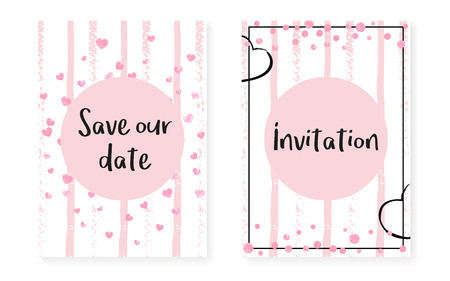 Wedding card invitation with dots and sequins. Bridal shower set with pink glitter confetti. Vertical stripes background. Retro wedding card for party, event, save the date flyer. Illustration