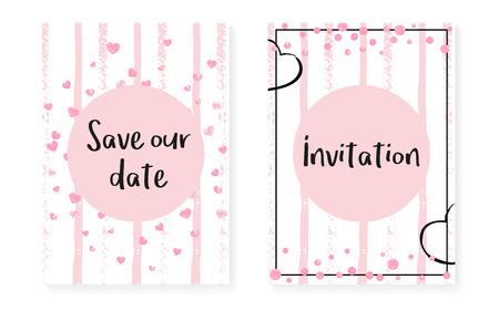 Trouwkaartuitnodiging met stippen en pailletten. Bruids douche set met roze glitter confetti. Verticale strepen achtergrond. Retro trouwkaart voor feest, evenement, bewaar de datum-flyer. Vector Illustratie