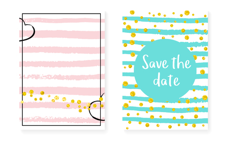 Bridal shower card with dots and sequins. Wedding invitation set with gold glitter confetti. Vertical stripes background. Stylish bridal shower card for party, event, save the date flyer. Stock Illustratie