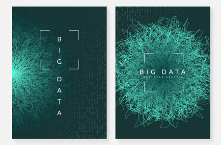 Big data background. Technology for visualization, artificial intelligence, deep learning and quantum computing. Design template for wireless concept. Digital big data backdrop.