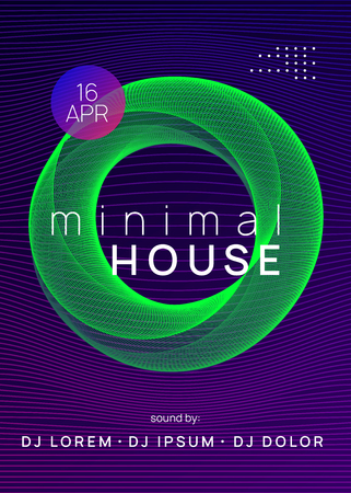 Music poster. Dynamic gradient shape and line. Wavy show invitation concept. Neon music poster. Electro dance dj. Electronic sound fest. Club event flyer. Techno trance party.