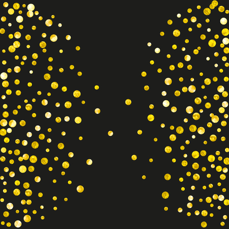 Gold glitter dots confetti on isolated backdrop. Falling sequins with glossy sparkles. Design with gold glitter dots for party invitation, event banner, flyer, birthday card.