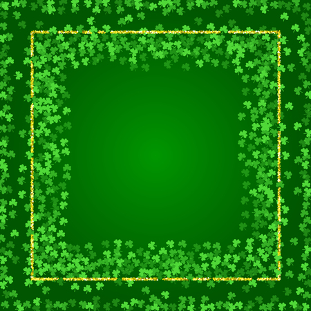 Shamrock Saint Patricks Day background. Green lucky clover confetti. Embedded frames of shamrock leaves and golden glitter. Template for greeting card design, banner, flyer, party invitation. Banco de Imagens