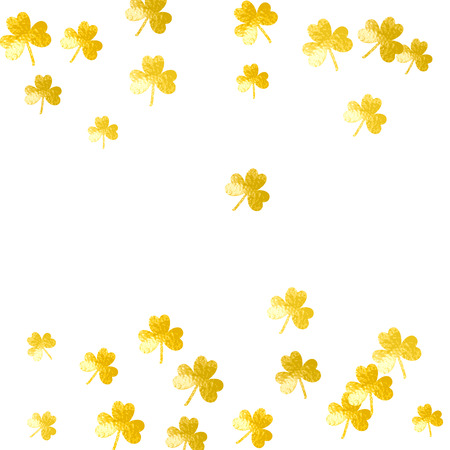 Saint patricks day background with shamrock. Lucky trefoil confetti. Glitter frame of clover leaves. Template for poster, gift certificate, banner. Irish saint patricks day backdrop. Illustration
