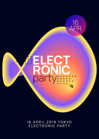 Music poster. Dynamic techno event brochure layout. Fluid holographic gradient shape and line. Electronic sound. Night dance lifestyle holiday. Summer fest flyer and music poster.