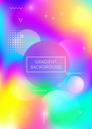 Fluid shapes background with liquid dynamic elements. Holographic bauhaus gradient with memphis. Graphic template for book, annual, mobile interface, web app. Iridescent fluid shapes background.