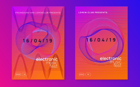 Electronic event. Wavy discotheque banner set. Dynamic gradient shape and line. Neon electronic event. Electro dance dj. Trance sound. Club fest poster. Techno music party flyer.