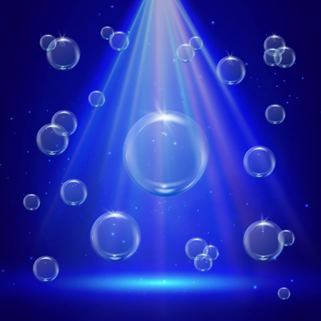 Stage illumination with spotlights and bubbles. Blue deep sea scene with water sprays and sunshine flare. Underwater background with bubbles. Glowing rays and sparkles. Sun flash with radiate burst.
