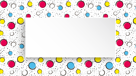 Pop art colorful confetti background. Big colored spots and circles on white background with black dots and ink lines. Banner with 3d paper plate in pop art style. Vibrant design for flyer, sale, ad