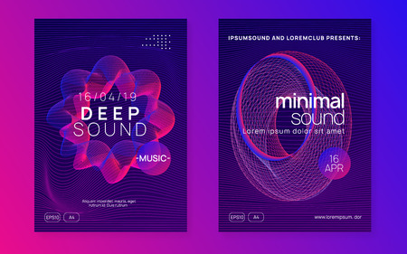 Club flyer. Dynamic gradient shape and line. Bright show magazine set. Neon club flyer. Electro dance music. Trance party dj. Electronic sound fest. Techno event poster. Иллюстрация