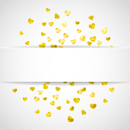 Valentine paper badge with gold glitter hearts. February 14th day. Vector confetti for valentine paper badge. White festive banner with texture. Love theme for gift coupons, vouchers, ads, events. Stockfoto - 126034917