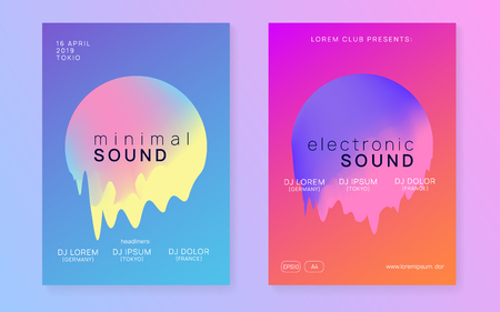 Summer music set. Minimal indie club cover design. Electronic sound. Night dance lifestyle holiday. Fluid holographic gradient shape and line. Fest poster and flyer for summer music. Stock Illustratie