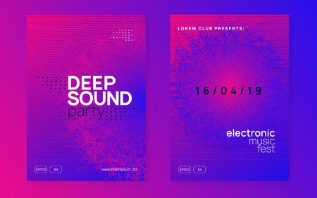 Dj party. Dynamic gradient shape and line. Modern show magazine set. Neon dj party flyer. Electro dance music. Techno trance. Electronic sound event. Club fest poster.