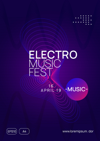 Techno event. Dynamic gradient shape and line. Energy concert invitation design. Neon techno event flyer. Electro dance music. Electronic sound. Trance fest poster. Club dj party.