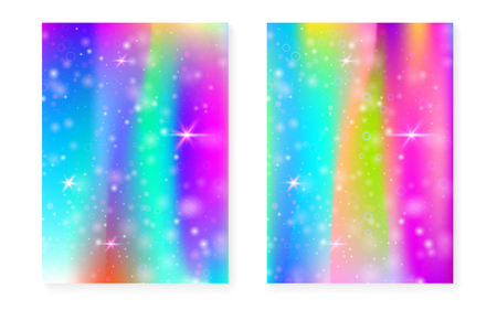 Unicorn background with kawaii magic gradient. Princess rainbow hologram. Holographic fairy set. Fluorescent fantasy cover. Unicorn background with sparkles and stars for cute girl party invitation. Vettoriali