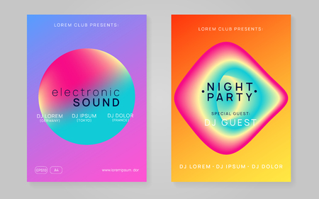 Music flyer set. Fluid holographic gradient shape and line. Electronic sound. Night dance lifestyle holiday. Modern house show invitation template. Poster for summer fest and music flyer.
