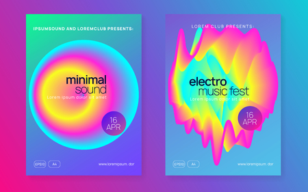 Summer music set. Electronic sound. Night dance lifestyle holiday. Fluid holographic gradient shape and line. Commercial indie event banner layout. Fest poster and flyer for summer music.