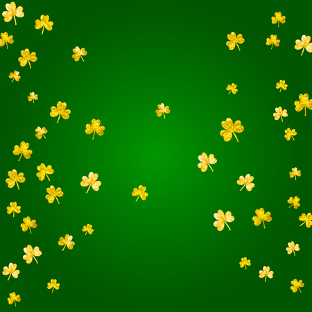 Saint patricks day background with shamrock. Lucky trefoil confetti. Glitter frame of clover leaves. Template for special business offer, banner, flyer. Festal saint patricks day backdrop.