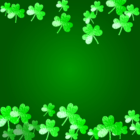Shamrock background for Saint Patricks Day. Lucky trefoil confetti. Glitter frame of clover leaves.  Template for flyer, special business offer, promo. Holiday shamrock background.