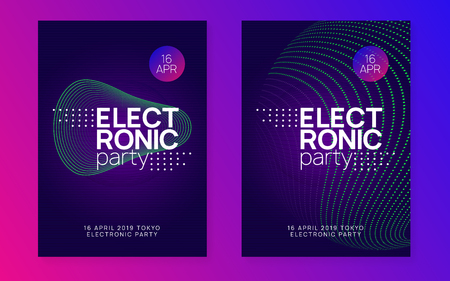 Music poster. Futuristic discotheque cover set. Dynamic gradient shape and line. Neon music poster. Electro dance dj. Electronic sound fest. Club event flyer. Techno trance party. Stockfoto - 119043317