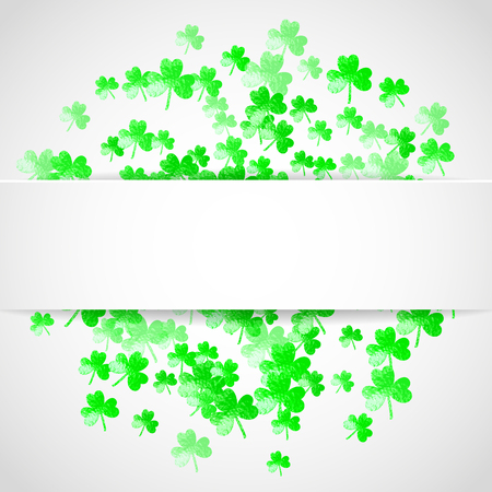 Clover paper frame with shamrock. Lucky trefoil confetti. Glitter frame of shamrock leaves. Template for gift coupons, vouchers, ads, events. Decorative clover paper frame backdrop.