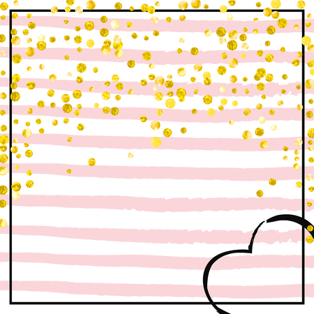 Gold glitter dots confetti on pink stripes. Shiny falling sequins with shimmer and sparkles. Design with gold glitter dots for party invitation, bridal shower and save the date invite.  イラスト・ベクター素材