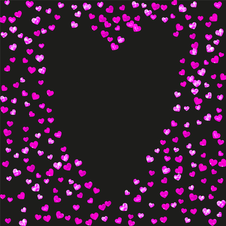 Valentines day frame with pink glitter hearts. February 14th day. Vector confetti for valentines day frame template. Grunge hand drawn texture. Love theme for gift coupons, vouchers, ads, events.