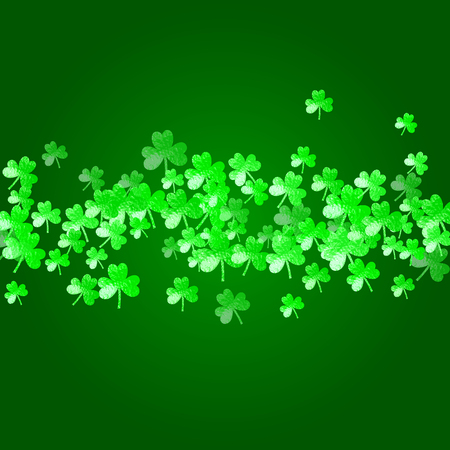 Clover background for Saint Patricks Day. Lucky trefoil confetti. Glitter frame of shamrock leaves. Template for flyer, special business offer, promo. Happy clover background.