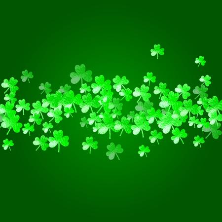 Clover background for Saint Patricks Day. Lucky trefoil confetti. Glitter frame of shamrock leaves. Template for flyer, special business offer, promo. Happy clover background.