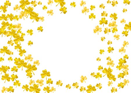 Saint patricks day background with shamrock. Lucky trefoil confetti. Glitter frame of clover leaves. Template for poster, gift certificate, banner. Holiday saint patricks day backdrop. Illustration