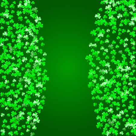 Shamrock background for Saint Patricks Day. Lucky trefoil confetti. Glitter frame of clover leaves.  Template for party invite, retail offer and ad. Festal shamrock background. Illustration